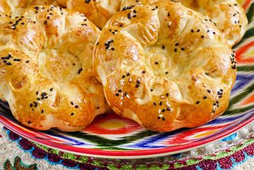 uzbek bread on the wooden board