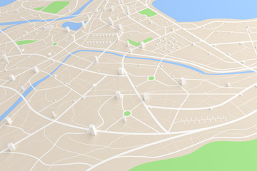 3D rendered top view of city map with road building river 3D illustration