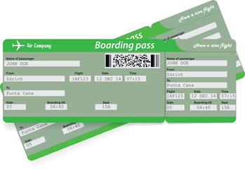 Green pattern of two airline boarding pass tickets for traveling by plane. Vector illustration.
