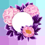 Vector Card with Pink Peonies and Purple Leaves on Geometrical Background - 191187340