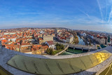 Aerial view from the city hall tower over Oradea town center - 191190133