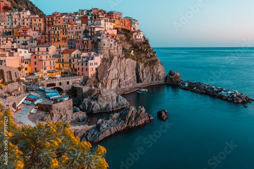 Papiers peints Ligurie Sunset in Manarola, Cinque Terre, Liguria, Italy