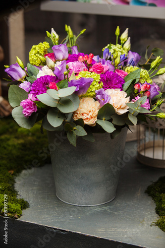 Fotobehang Hydrangea beautiful bouquet in a bucket
