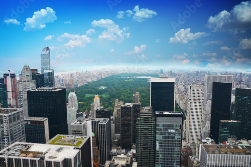 Foto Murales Central Park of new York aerial view from a skyscraper