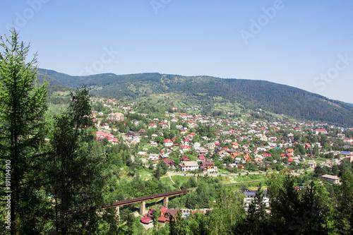 Fotobehang Khaki Panorama of Yaremche and Mykukychyn from above. Carpathian mountain. Europe. Ukraine.