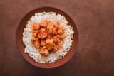indian chicken curry with white rice - 191197186