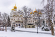 Church of the Twelve Apostles in Moscow Kremlin in Moscow, Russia. Winter scene of Moscow Kremlin.