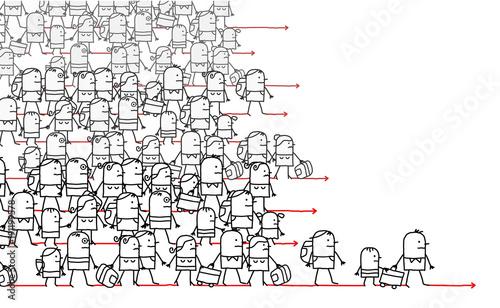 Cartoon Migrating People