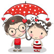 Cute Boy and girl with umbrella - 191201991