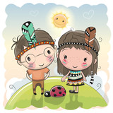 Cute Cartoon tribal girl and boy with feather - 191201926