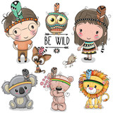 Set of Cute tribal girl and boy and animals
