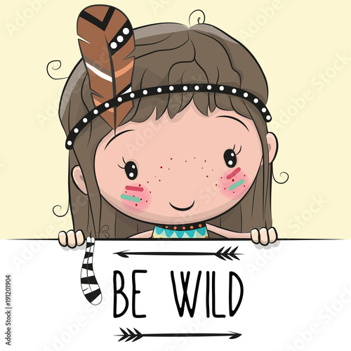 Cute Cartoon tribal girl with a feather