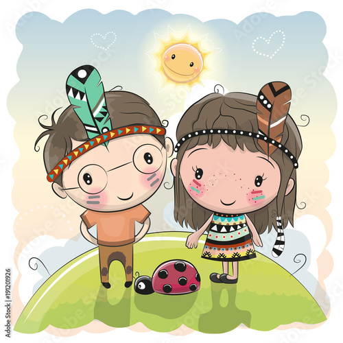 Fototapeta Cute Cartoon tribal girl and boy with feather
