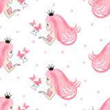 Seamless princess pattern with beautiful girls and butterflies.