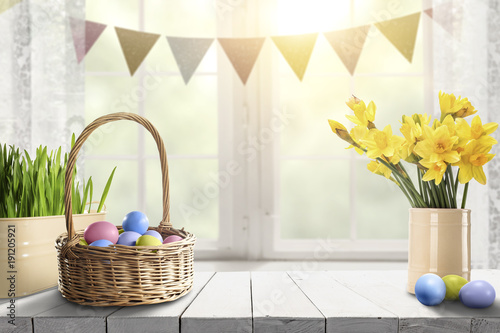 easter table background and free space for your decoration.  - 191205921