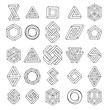 Graphic impossible shapes. Circle, square and triangle symbols with escher paradox impossible geometry geometric graphic, vector illustration - 191206939