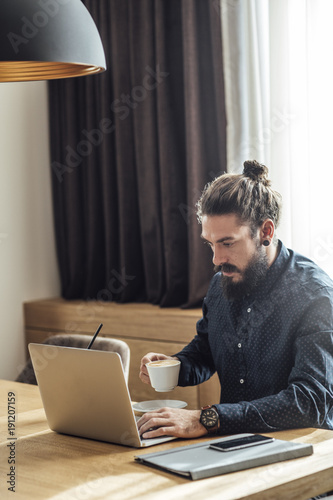 Businessman Freelancer Working From Hotel Room
