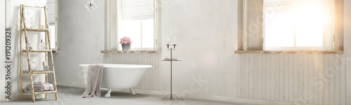 Shabby chic bathroom with sun flare 3d rendering © Fabian