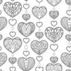 Seamless pattern with hearts ornament. Decorative pattern in zentangle style. Adult antistress coloring page. Black and white hand drawn doodle for coloring book