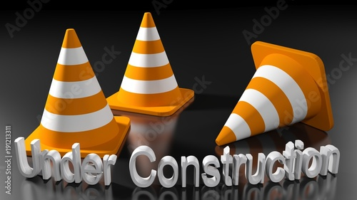 Under Construction with traffic cones - 3D rendering