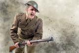 American World War 1 soldier attack. 1917-18 - 191216988