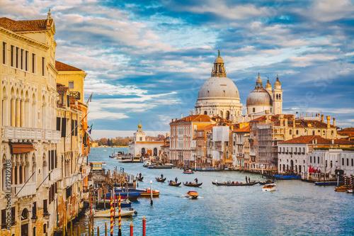 Foto op Canvas Venetie Canal Grande with Basilica di Santa Maria della Salute at sunset with retro vintage effect, Venice, Italy
