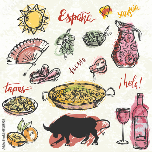 Set of hand drawn elements typical for spanish culture.