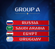 Football championship groups. Set of national flags. Draw result. Soccer world tournament. Group A.