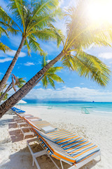 Tropical white sand beach in Boracay, Philippines