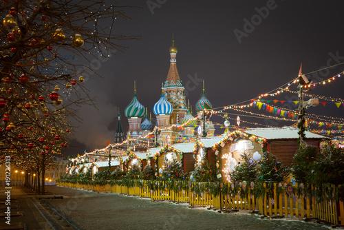 Fotobehang Moskou Новогодняя ярмарка на Красной площади