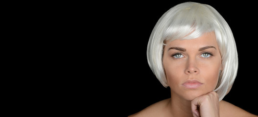Woman On Black with Platinum Hair