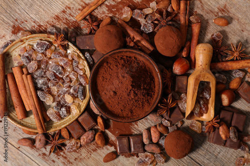 assorted chocolate,cocoa,sugar and spice