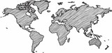 Freehand world map sketch on white background. - 191229778
