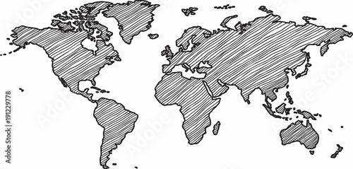 Fototapeta Freehand world map sketch on white background.