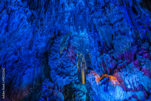 Keuken foto achterwand Guilin Illumination of underground caves with lakes in Guilin City, Guangxi Province, People's Republic of China