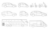 Vector set of outline icons cars. View to the side City transport. - 191237142