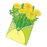 Vector bouquet with outline yellow Dandelion flower, bud and green leaves in open craft envelope isolated on white background. Ornate floral for spring design and coloring book in contour style.