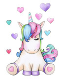 Fototapety  Cute sitting unicorn cartoon with hearts, isolated on white.