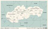 Slovakia Map - Vintage Detailed Vector Illustration