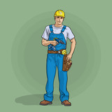 Worker in overalls a...