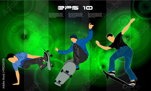 Skateboarder jump, sport background - 191250718