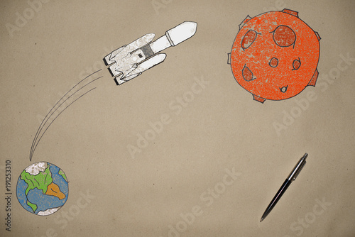 drawing launching a rocket falcon into space on the background of the earth - 191253310
