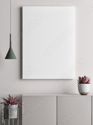 Mock up poster minimalism concept design, pastel colors, 3d render, 3d illustration
