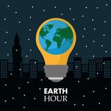 earth hour in the light bulb scene night town vector illustration - 191257166