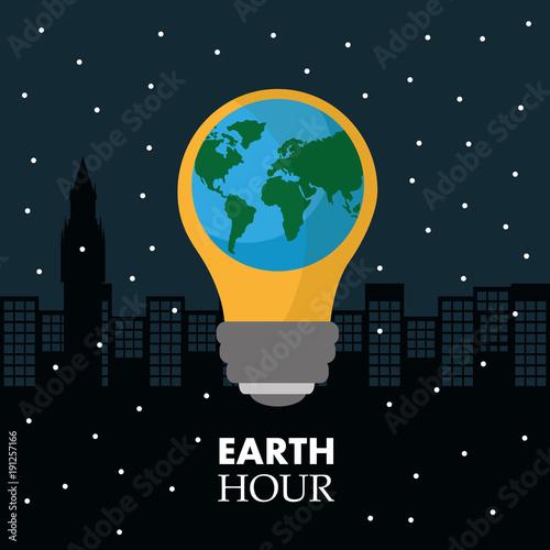 earth hour in the light bulb scene night town vector illustration
