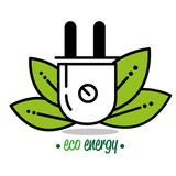 natural green eco energy with electric plug vector illustration graphic design - 191269944