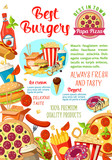 Fast food restaurant, burger cafe, pizzeria poster