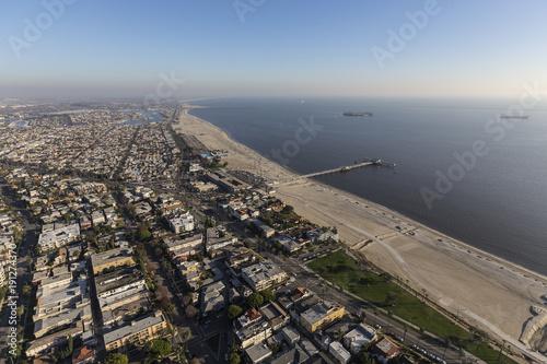 Aerial view of the Belmont Pier neighborhood in Long Beach California.