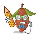 Student cacao bean character cartoon