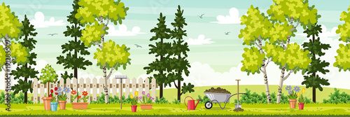 Spring landscape with garden tools, panorama - 191285509